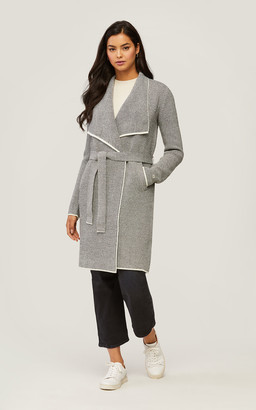 Soia & Kyo STELLA knit coatigan with colour contrast and large lapel