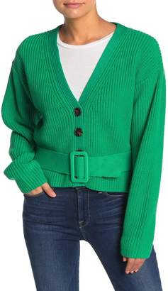 I. MADELINE Belted V-Neck Button Cardigan