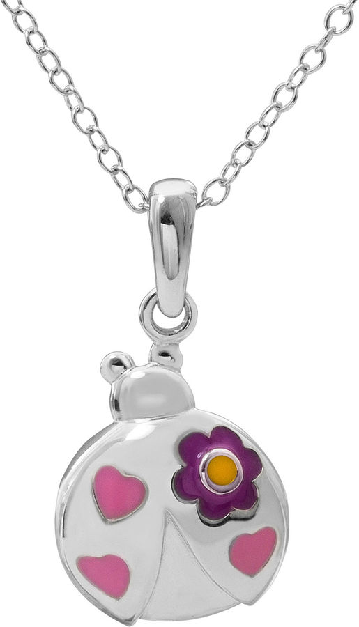 Hallmark Kids Sterling Silver Enamel Lady Bug Pendant Necklace