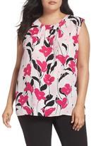 Vince Camuto Plus Size Women's Floral Pleat Neck Blouse