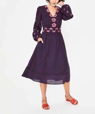 Boden Women's Casual Dresses NAV - Navy Floral Flossie Embroidered Midi Dress - Women, Women's Tall & Petite
