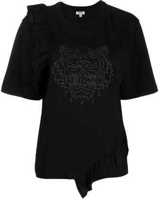 Kenzo ruffled tiger logo T-shirt