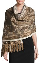 Neiman Marcus Rabbit Fur-Trim Paisley Wool Wrap, Beige/Brown