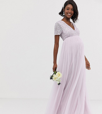 Maya Maternity Bridesmaid v neck maxi tulle dress with tonal delicate sequin in soft lilac-Purple