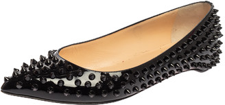 Christian Louboutin Black Patent Leather Spike Pointed Toe Ballet Flats Size 38.5