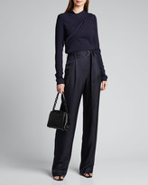 Sally LaPointe Silk High-Rise Belted Wide-Leg Pants