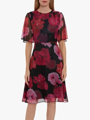 Gina Bacconi Sam Floral Chiffon Dress, Black/Pink
