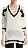 KENDALL + KYLIE V-Neck Rugby Sweater, White