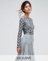 Lace and Beads Lace & Beads Scallop Embellished Crop Top With Long Sleeve