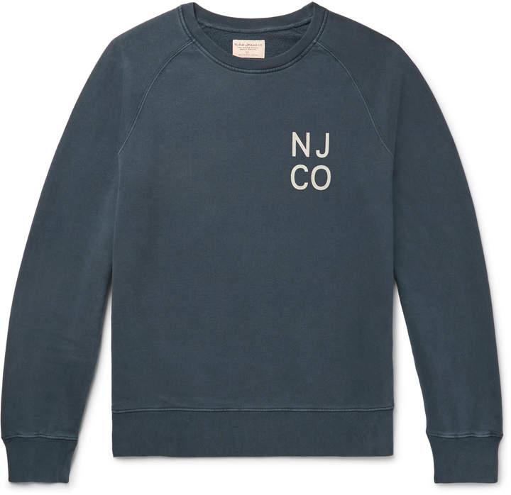 Nudie Jeans Melvin Logo-Print Organic Loopback Cotton-Jersey Sweatshirt - Men - Blue