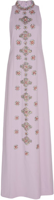 Andrew Gn Sleeveless Embroidered Crepe Dress