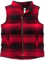 Red Plaid Fleece-Lined Zip-Up Flannel Vest - Boys