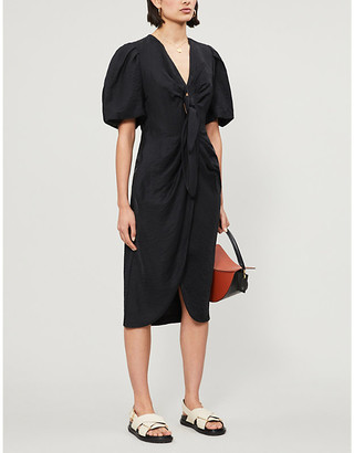 Sandro Blum twill midi dress