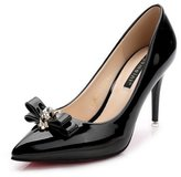 AalarDom Women's Patent Leather Spikes-Stilettos Pumps-Shoes with Bowknot