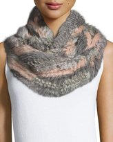Jocelyn Rabbit Fur Infinity Scarf, Gray Multicolor