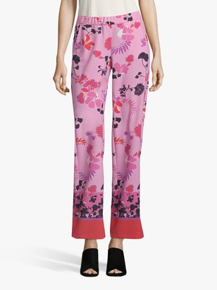 Betty Barclay Floral Print Trousers, Rose/Multi