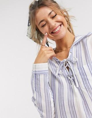 En Creme striped long sleeve mini dress