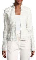Josie Natori Textured Stretch-Cotton Peplum Jacket, White