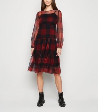New Look Urban Bliss Check Mesh Dress