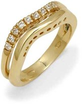 Tatitoto Gioie Women's Ring in 18k Gold with White Cubic Zirconia, Size 6.5, 6.5 Grams
