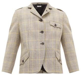 Miu Miu Prince Of Wales-check Wool-tweed Blazer - Beige Multi