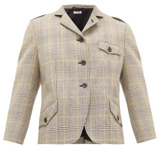 Miu Miu Prince Of Wales-check Wool-tweed Blazer - Womens - Beige Multi