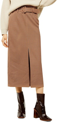 Topshop Belted Check Slit Midi Skirt