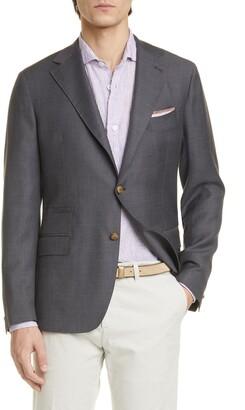 Eleventy Trim Fit Solid Wool Blazer