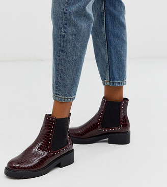 London Rebel wide fit chunky flat chelsea boots in burgundy croc-Red