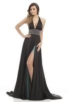 Johnathan Kayne 7086 Deep Halter Charmeuse A-line Gown