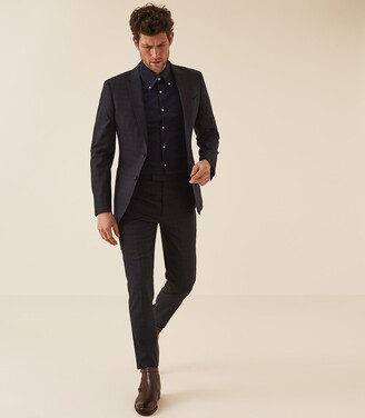 Reiss Redsnap Slim - Slim Fit Button Down Shirt in Navy