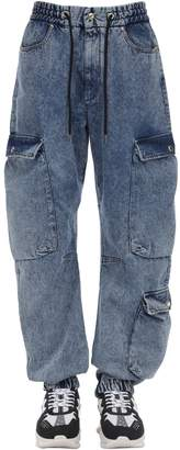 Versace BAGGY WASHED COTTON DENIM JEANS