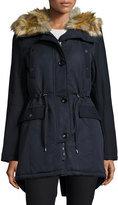 French Connection Hooded Jacket with Faux-Fur-Trim, Blue