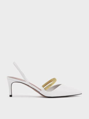 Charles & Keith Gold Mary Jane Strap Slingback Heels