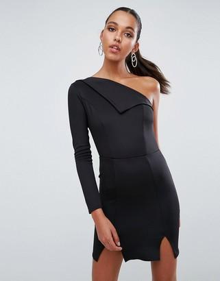 Asos Design Double Split One Shoulder Mini Dress-Black