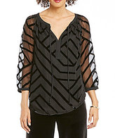 Gibson & Latimer V-Neck 3/4 Sleeve Velvet Striped Blouse