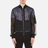 Msgm Fabric Detail Bomber Jacket Black