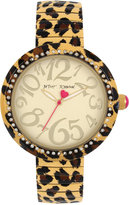 Betsey Johnson Women's Brown Leopard Printed Stainless Steel Bracelet Watch 43mm BJ00626-02
