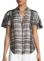 Diane von Furstenberg Flutter Sleeve Silk Blouse