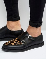 Asos Monk Shoes In Black Leather With Leopard Panel