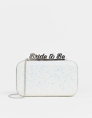 Aldo bride to be glitter clutch bag-White
