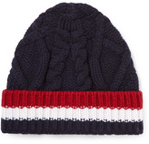 Thom Browne Striped Cable-knit Wool Beanie - Navy