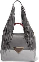 Sara Battaglia Teresa fringed two-tone leather shoulder bag