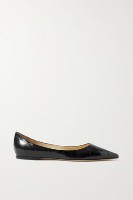 Jimmy Choo Love Glossed-eel Ballet Flats - Black