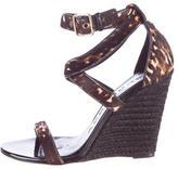 Burberry Ponyhair Leopard Print Wedge Sandals