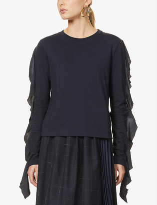 J.W.Anderson Frilled-panel cotton-jersey T-shirt