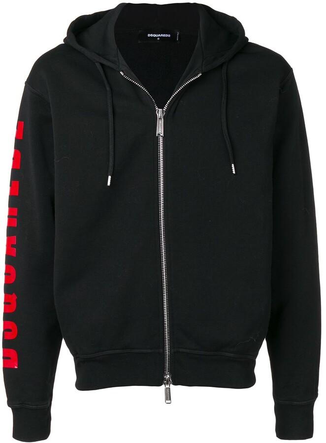 DSQUARED2 logo zip front hoodie