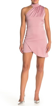 KENDALL + KYLIE Mock Neck Asymmetrical Satin Mini Dress
