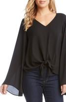 Karen Kane Women's Bell Sleeve Tie Front Top