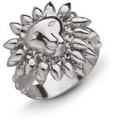 Monica Rich Kosann Sterling Silver Lion Courage Ring with White Sapphires, Size 8